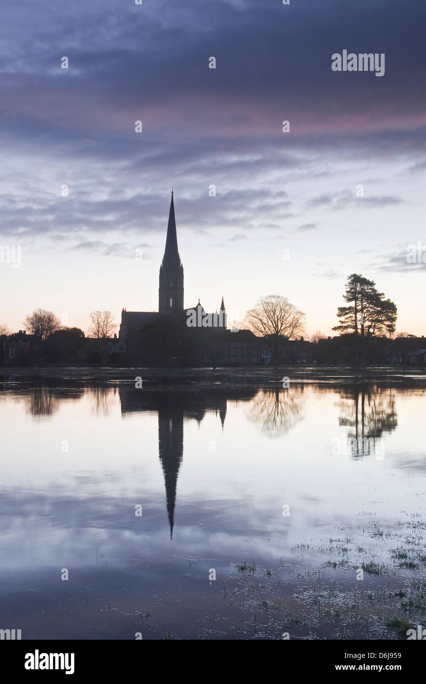 Salisbury cathedral at dawn reflecting in the flooded West Harnham Water Meadows, Salisbury, Wiltshire, England, - Stock Image
