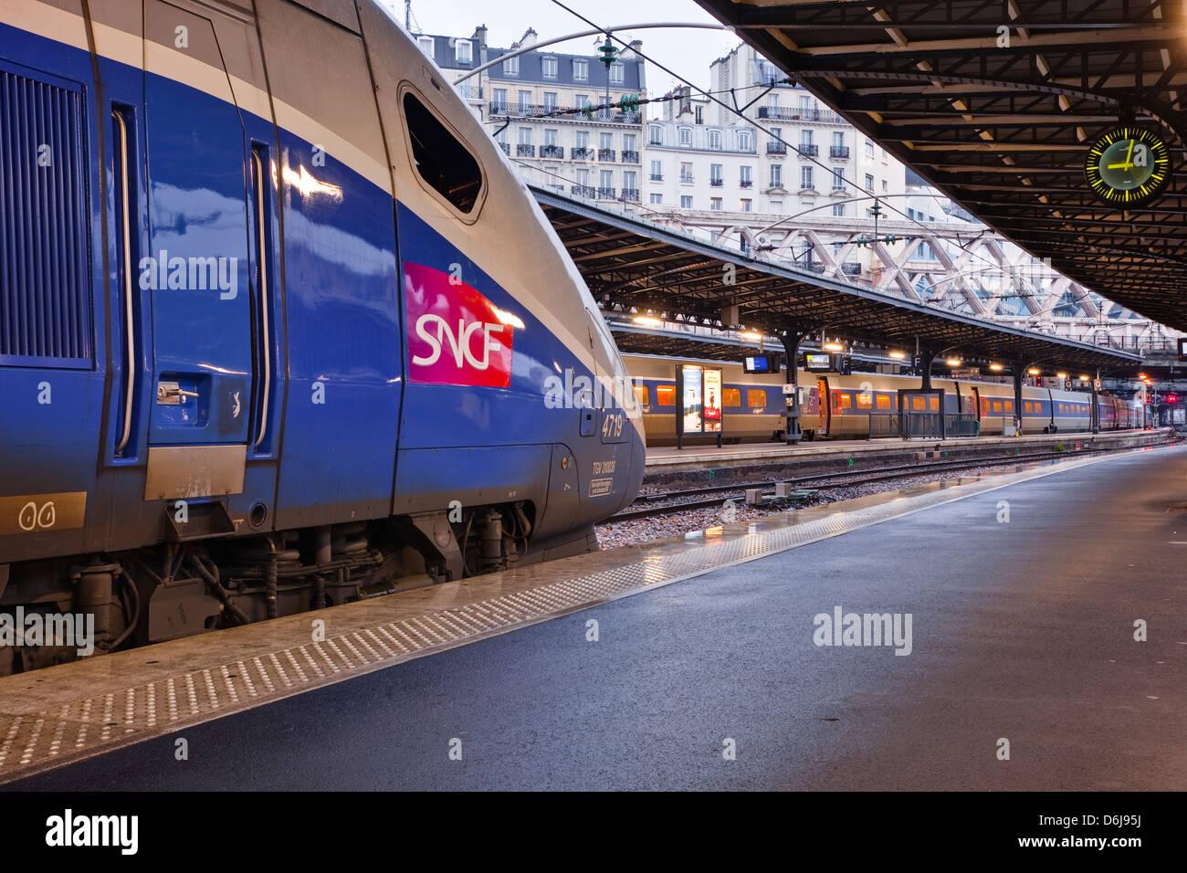 A TGV awaits departure at Gare de l'Est in Paris, France, Europe - Stock Image
