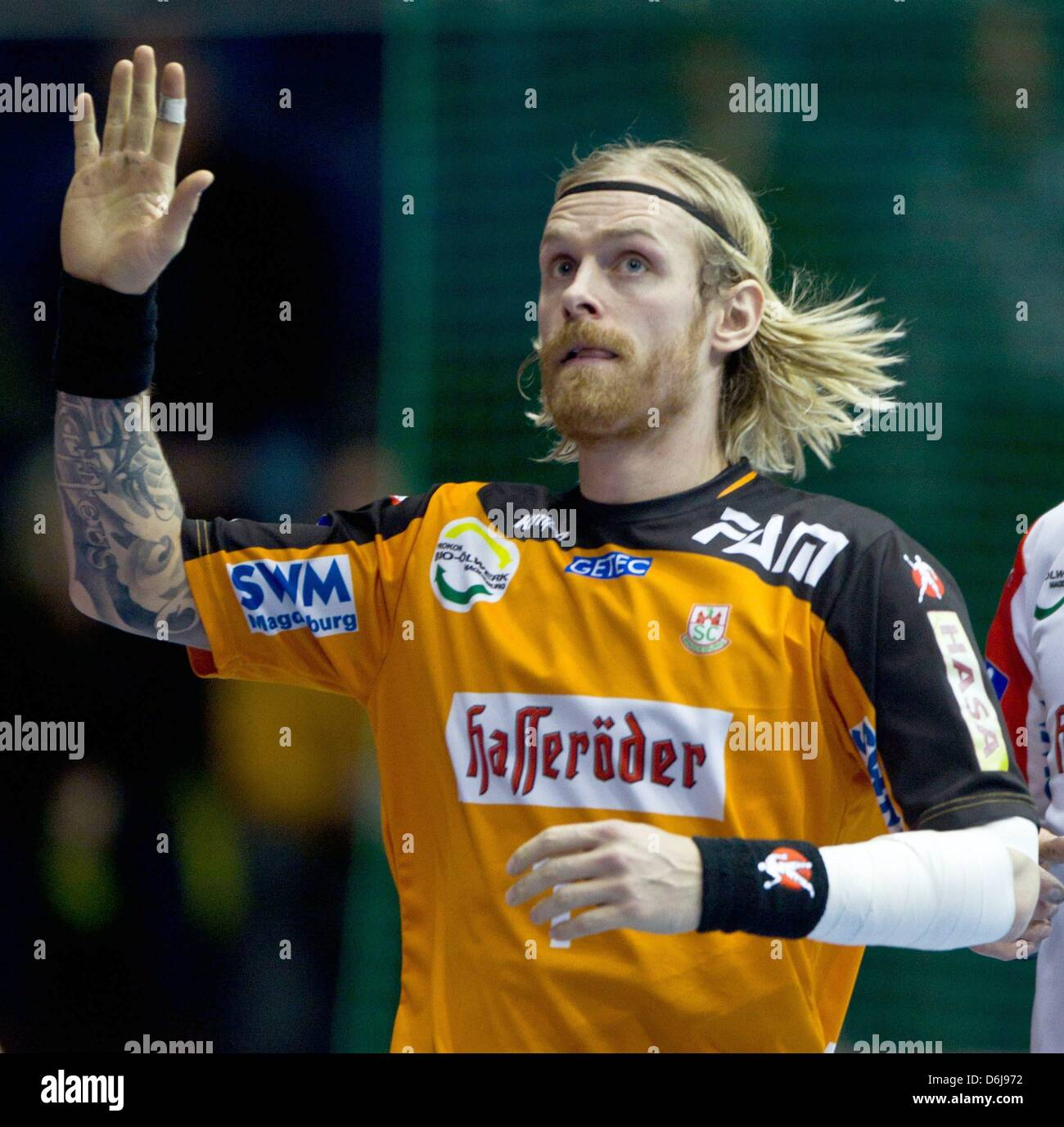 Magdeburg's goal keeper Bjoergvin Gustavsson is pictured during the handball bundesliga match between SC Magdeburg - Stock Image