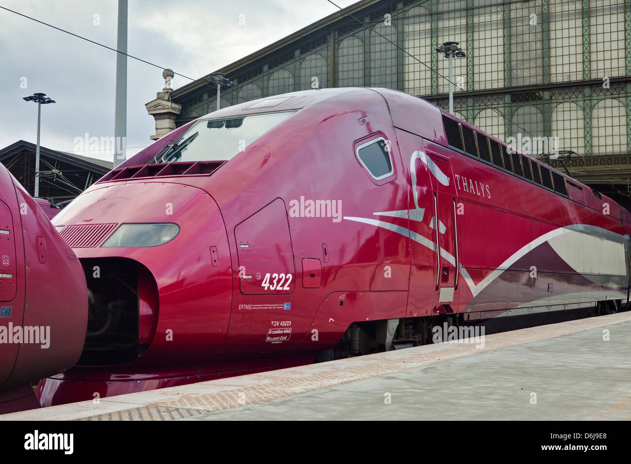 A Thalys high speed train awaits departure at Gare du Nord railway station, Paris, France, Europe - Stock Image