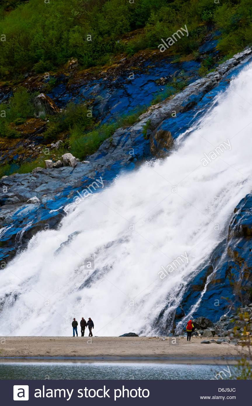 Nugget Falls flowing into Mendenhall Lake (next to Mendenhall Glacier), Juneau, southeast Alaska USA - Stock Image