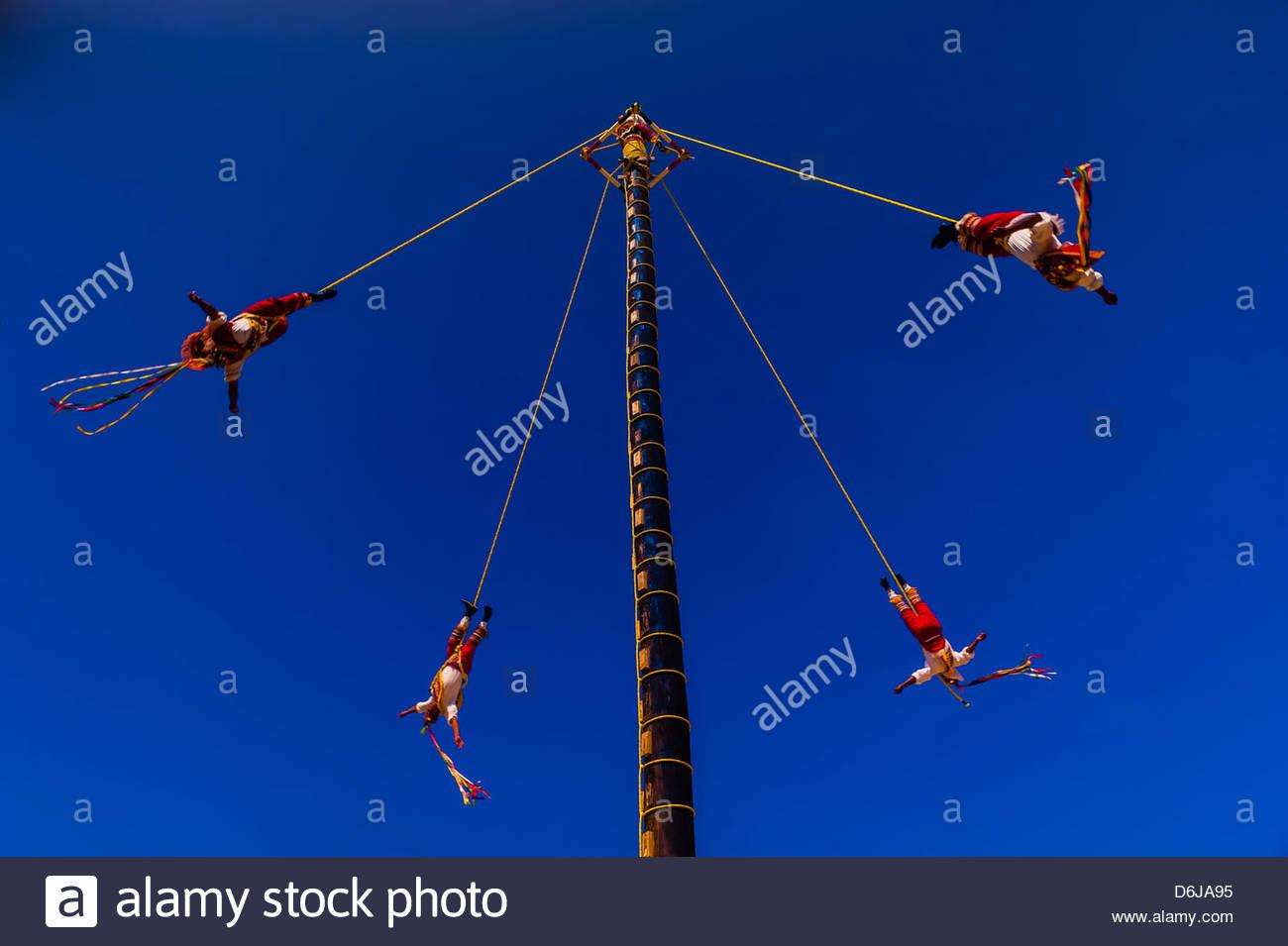 Papantla flyers (Voladores de Papantla), Xcaret Park (Eco-archaeological Theme park), Riviera Maya, Quintana Roo, - Stock Image