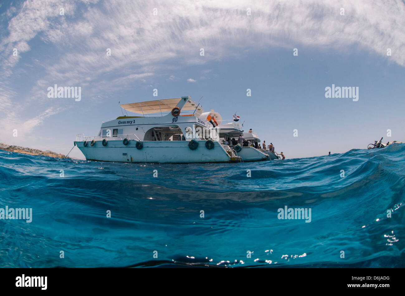 Dive Boats, low angle view, Ras Mohammed National Park, Red Sea, Egypt, North Africa, Africa - Stock Image
