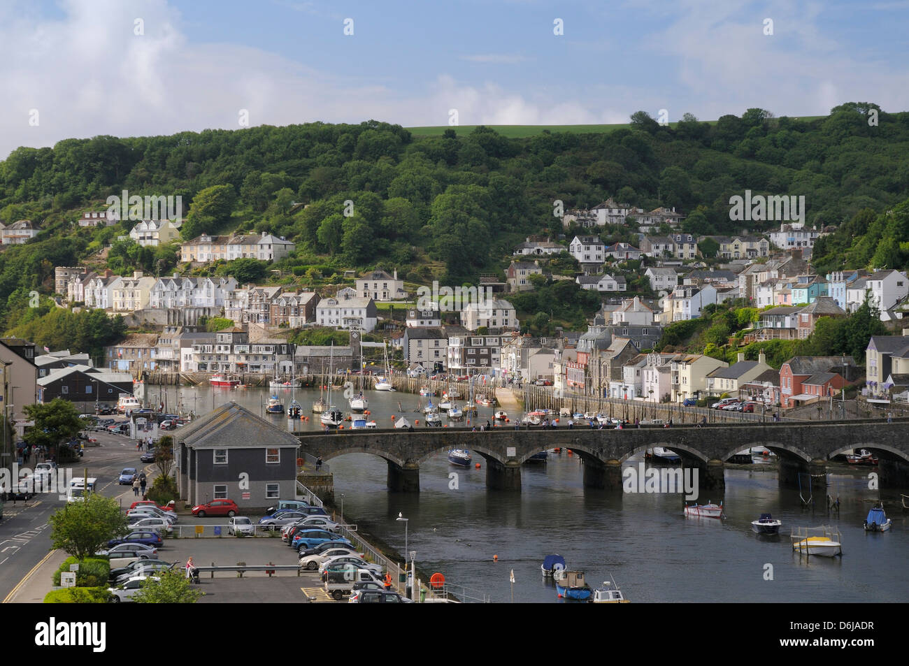 Overview of Looe harbour and bridge linking East and West Looe, Cornwall, England, United Kingdom, Europe - Stock Image