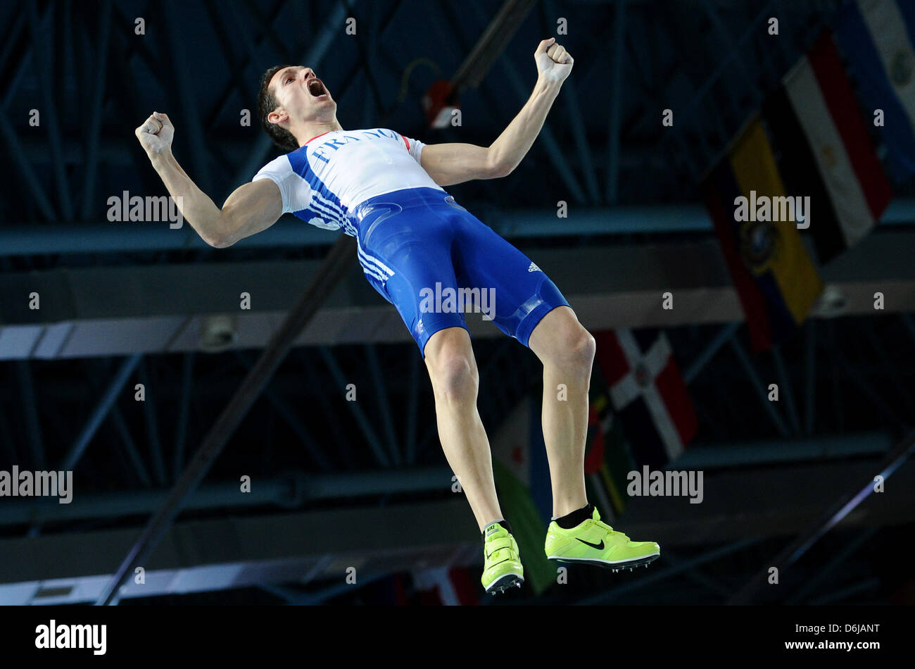 Renaud Lavillenie of France celebrates in the air during the Men's pole vault final at the IAAF World Indoor - Stock Image