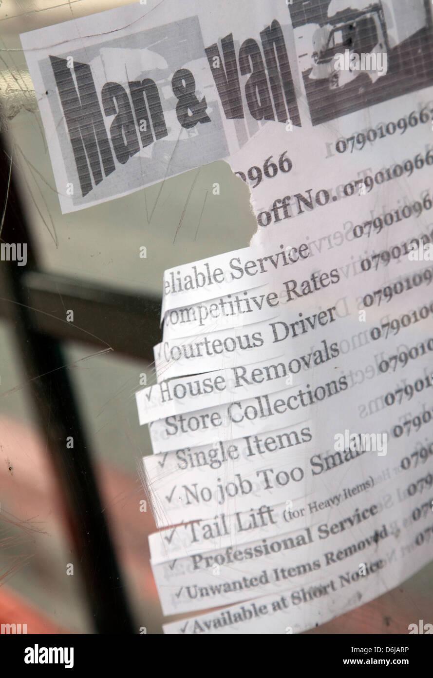 Man & Van Paper strips to tear off - Offering Service in London UK - Stock Image
