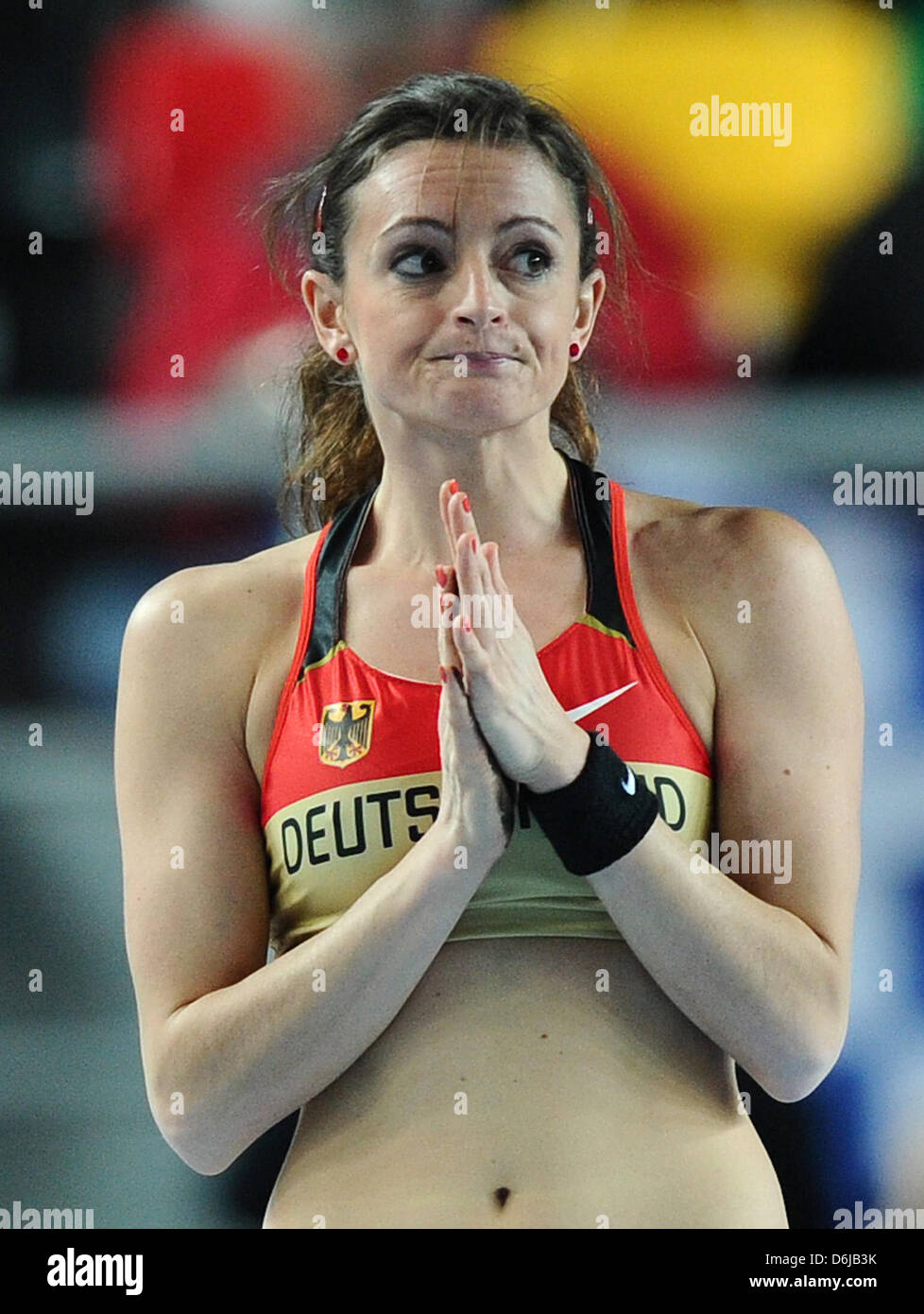Germany's Kristina Gadschiew reacts during the Women's pole vault final at the IAAF World Indoor Championships - Stock Image