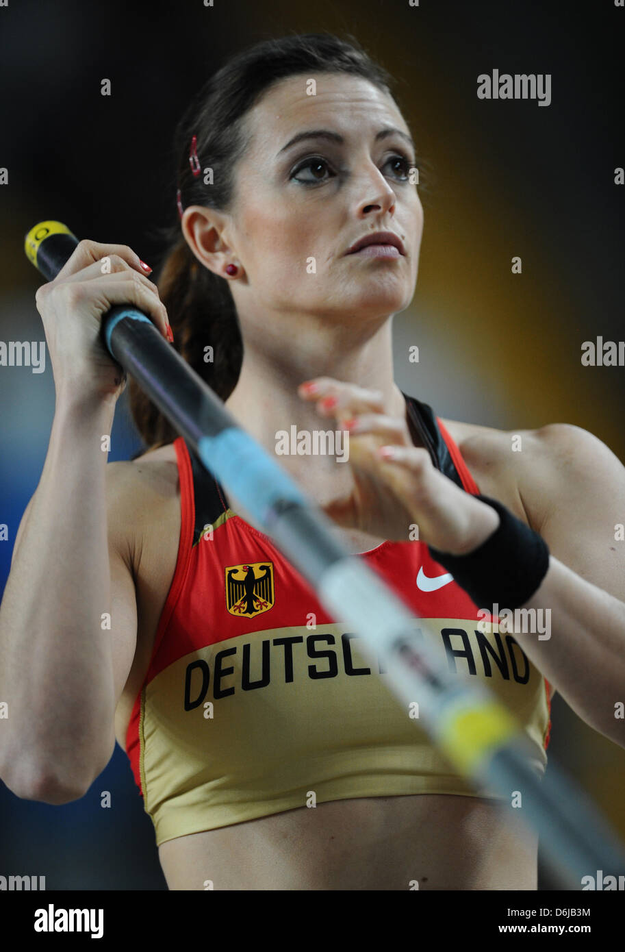 Germany's Kristina Gadschiew prepares for her attempt in the Women's pole vault final at the IAAF World - Stock Image