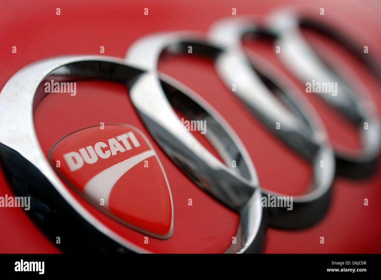 An Illustration Shows A Ducati Emblem Sticked On An Audi Radiator