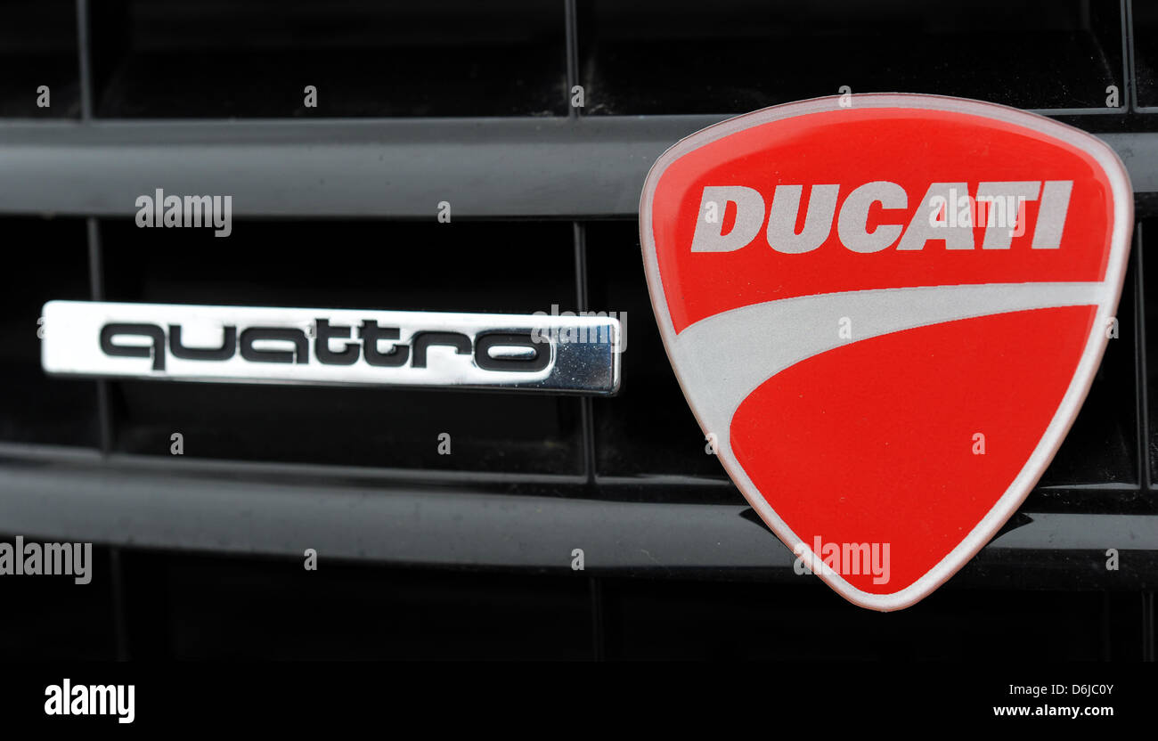 A Ducati Emblem Is Sticked On An Audi Quattro Car In Fuerth Stock