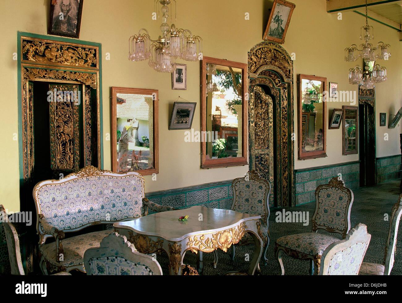 Interior, Karangasem Palace in Amlapura, Bali, Indonesia, Southeast Asia, Asia - Stock Image
