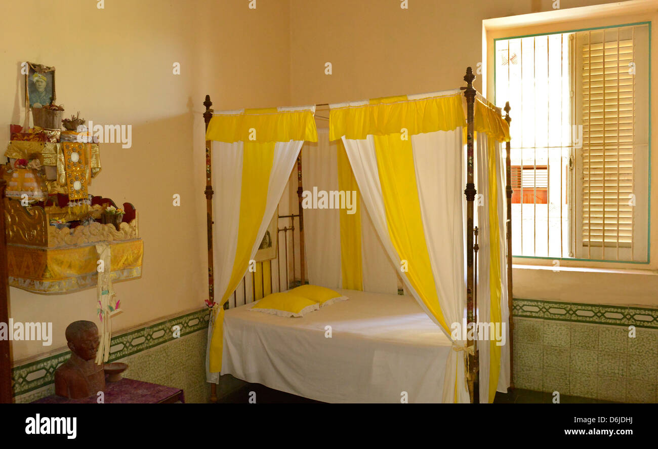 The bedroom of Dr. Djelantik, the last of the Rajas of Karangasem, Karangasem Palace, Amlapura, Bali, Indonesia, - Stock Image