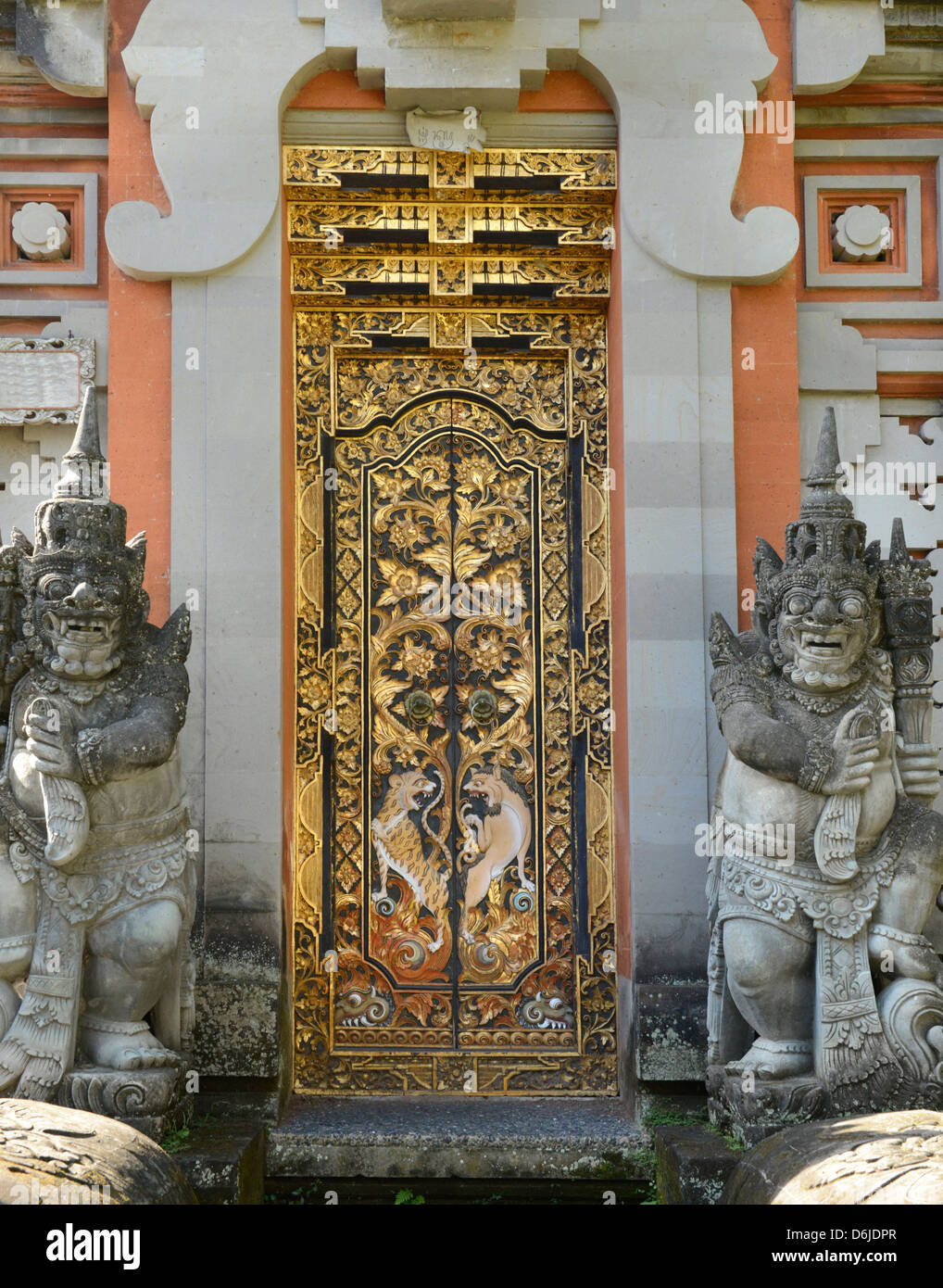 Door of a wealthy Balinese household, Bali, Indonesia, Southeast Asia, Asia - Stock Image