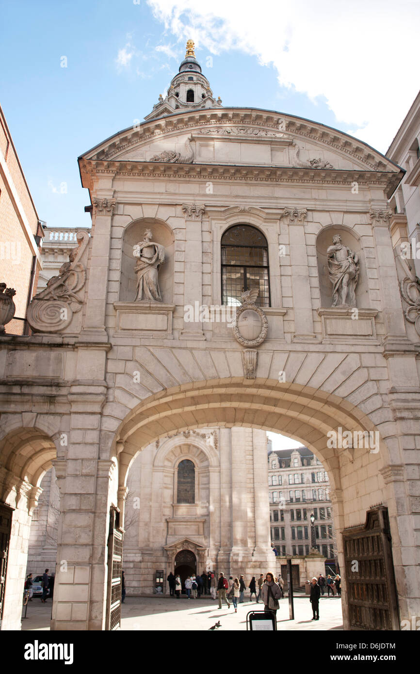 The Temple Bar Gateway, archway connecting St. Paul's Cathedral to Paternoster Square, London, England, United - Stock Image