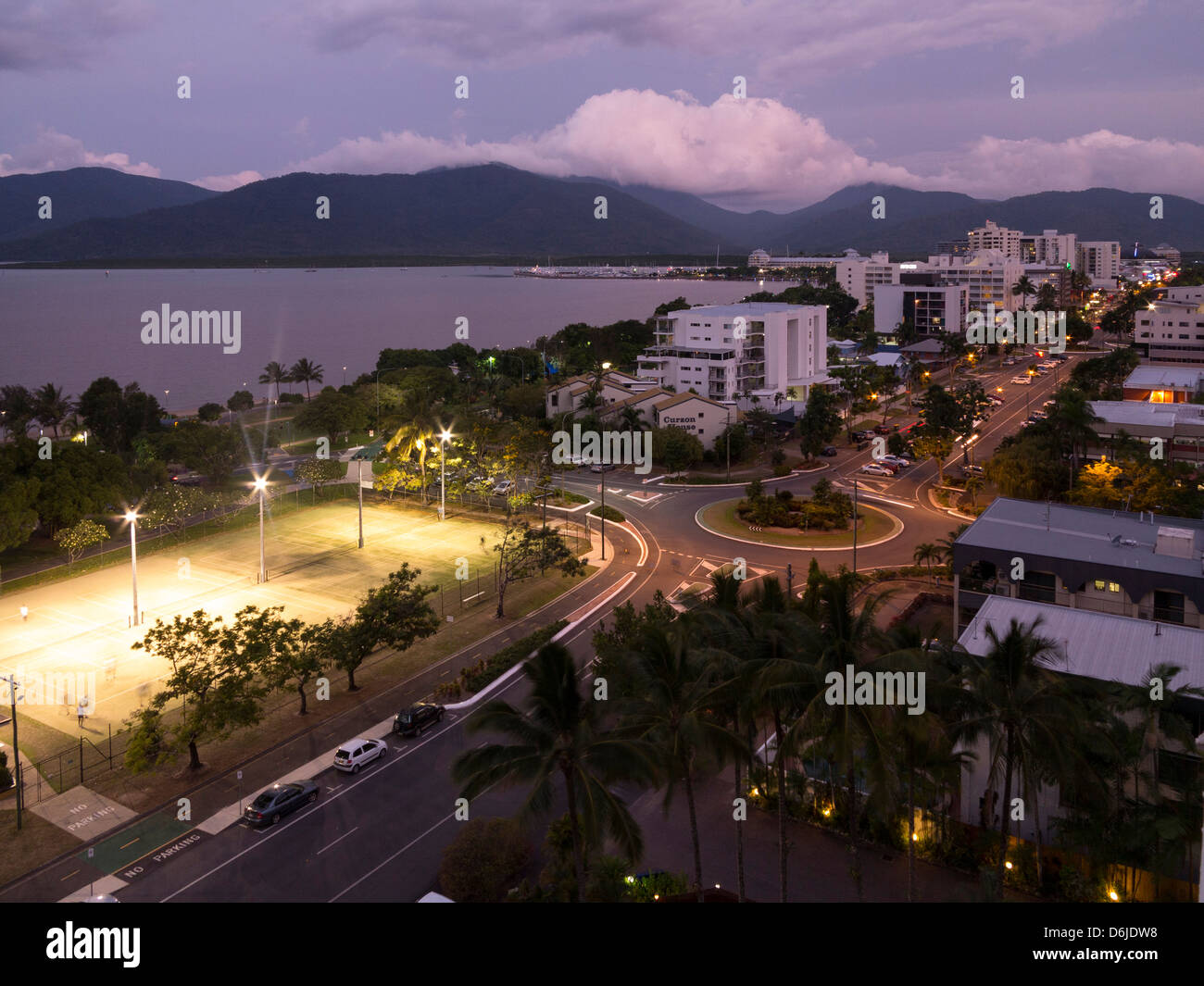 Waterfront and view towards city centre at dusk from south, Cairns, North Queensland, Australia, Pacific Stock Photo