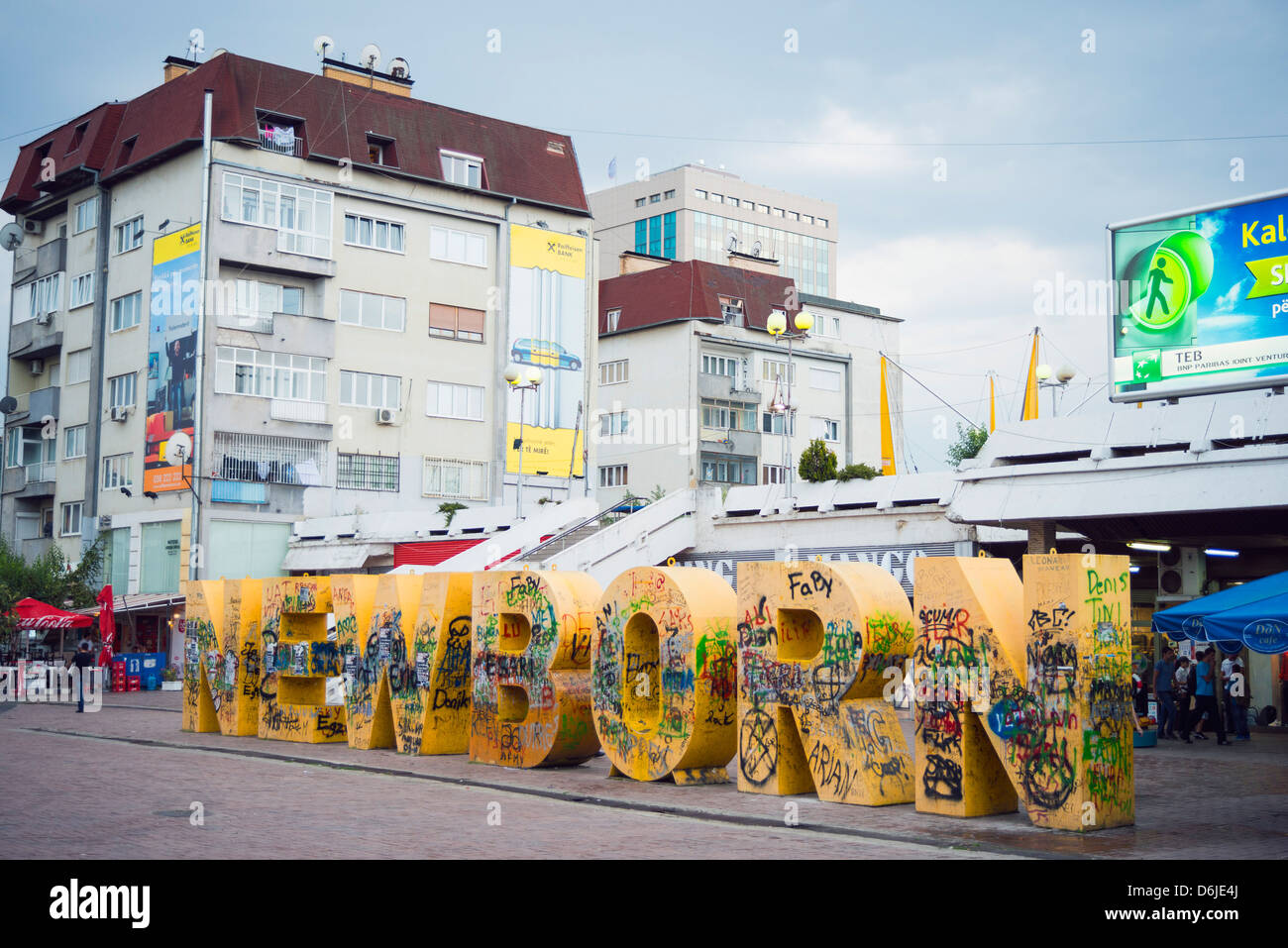 Newborn monument, Pristina, Kosovo, Europe - Stock Image