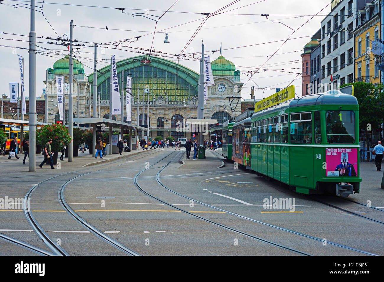 City center trams, Basel, Switzerland, Europe - Stock Image