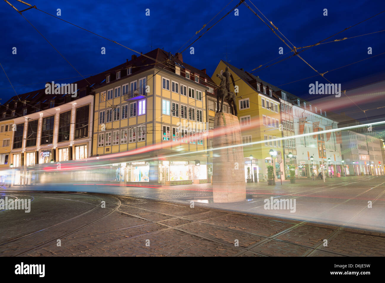 Tram in old town Freiburg, Baden-Wurttemberg, Germany, Europe - Stock Image