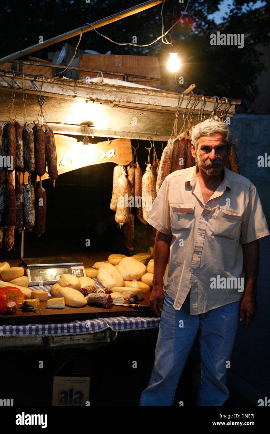 Local food stall selling salamies and cheese in Cafayate, Salta Province, Argentina, South America - Stock Image