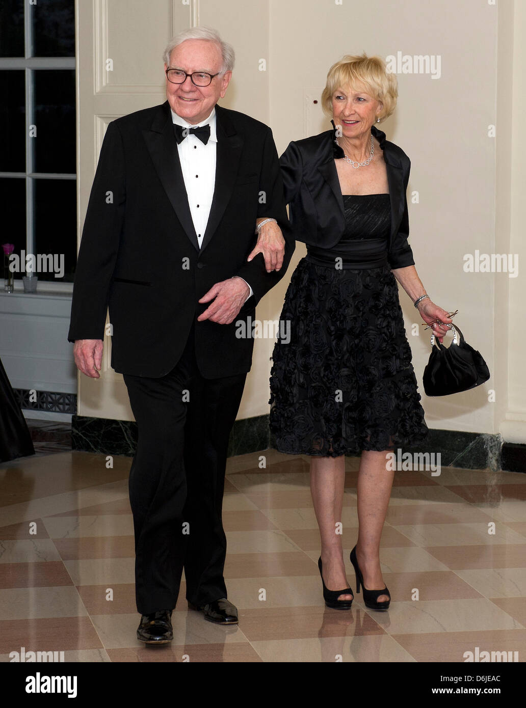Warren Buffett and Astrid M. Buffett arrive for the Official Dinner in honor of Prime Minister David Cameron of - Stock Image
