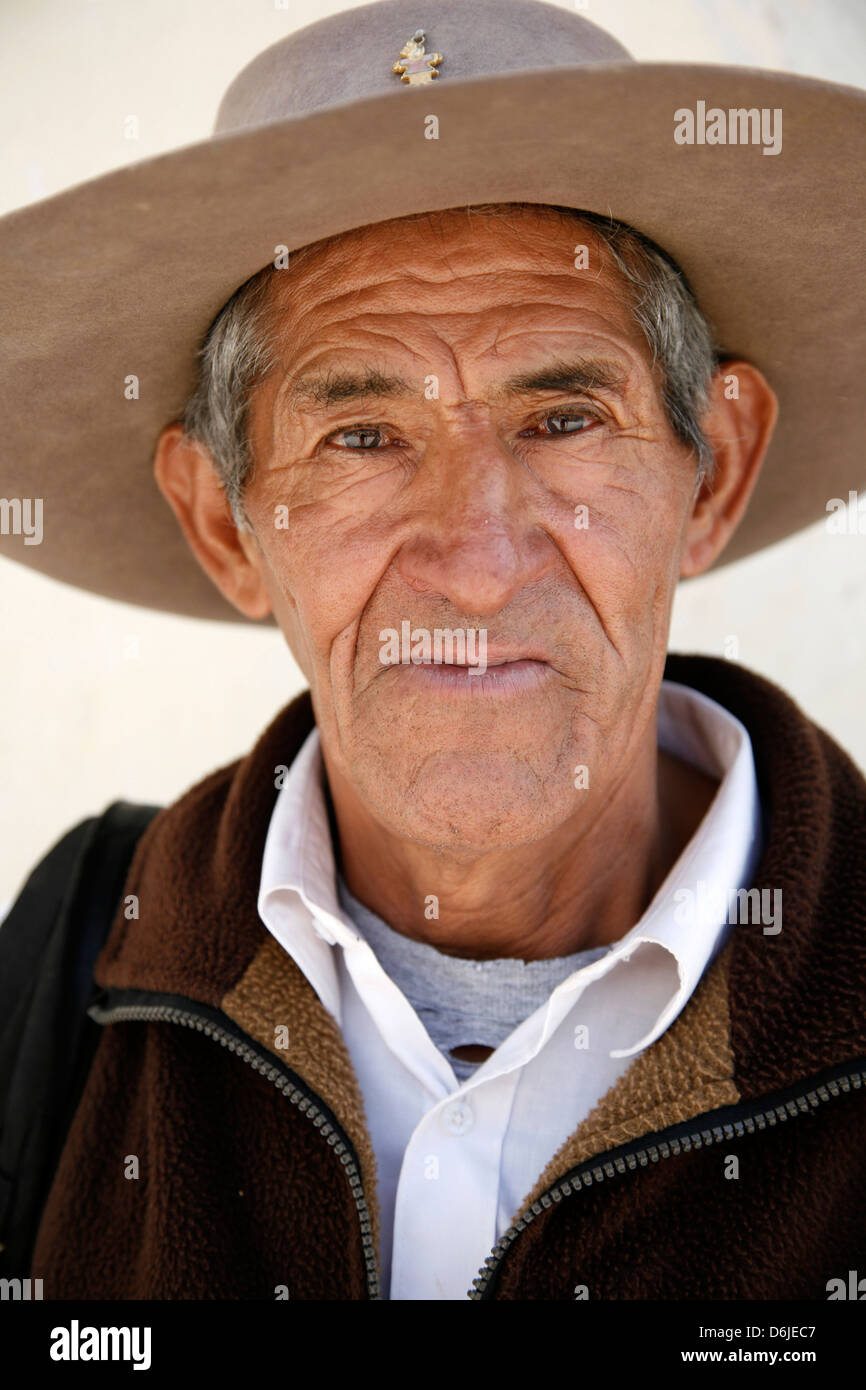 Portrait of a Quechua man in Cachi, Salta Province, Argentina, South America - Stock Image