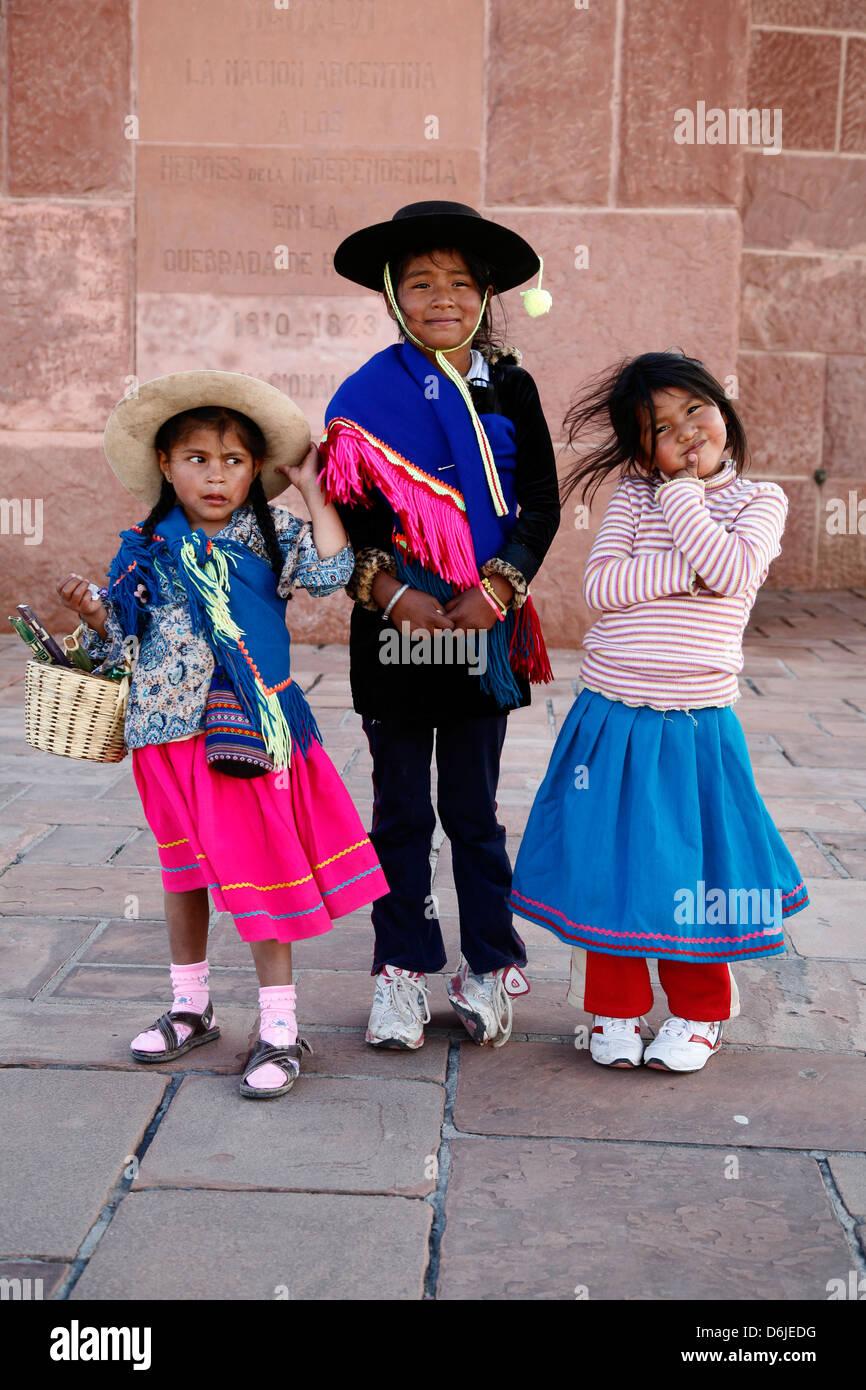 Portrait of young Quechua girls, Humahuaca, Quebrada de Humahuaca, Jujuy Province, Argentina, South America - Stock Image