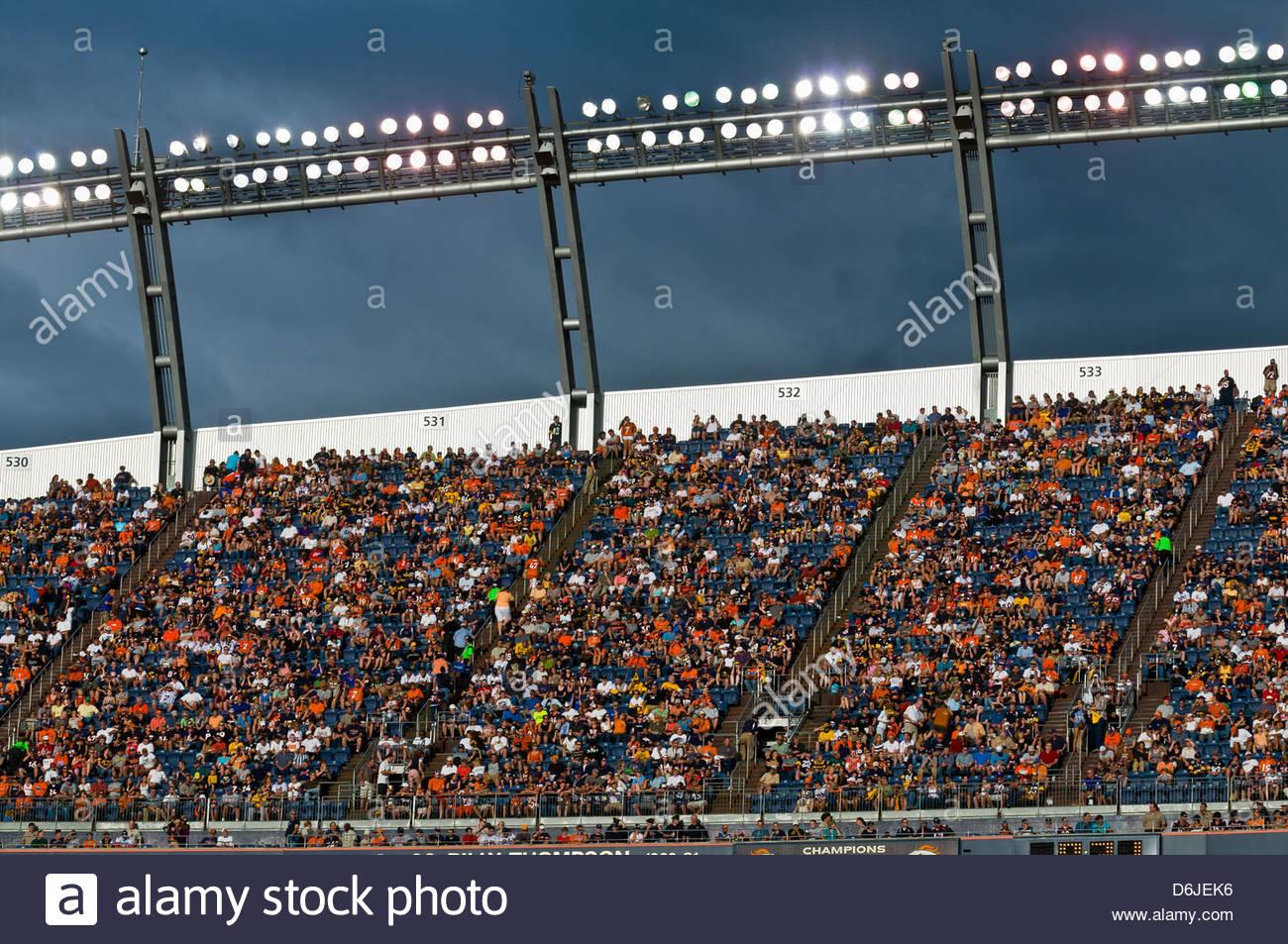 Denver Broncos vs. Pittsburgh Steelers NFL football game, Invesco Field at Mile High (stadium), Denver, Colorado - Stock Image