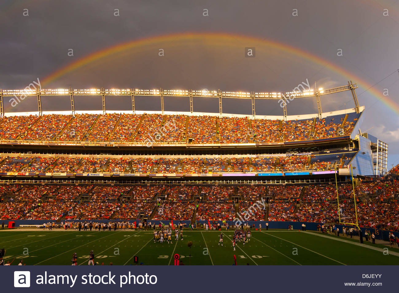 A rainbow over Sports Authority Field at Mile High (stadium), Denver, Colorado USA Stock Photo