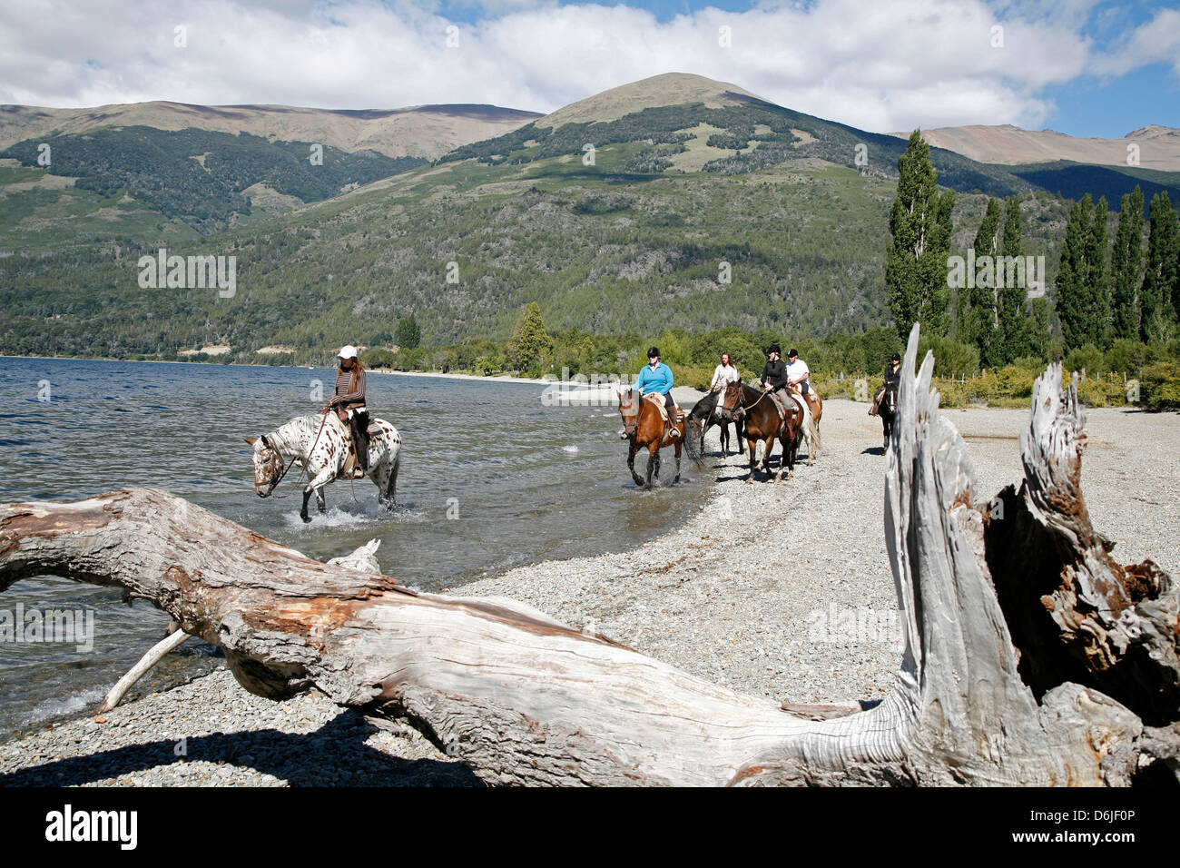 Horseback riding by Guttierez Lake in Estancia Peuma Hue, Patagonia, Argentina, South America - Stock Image