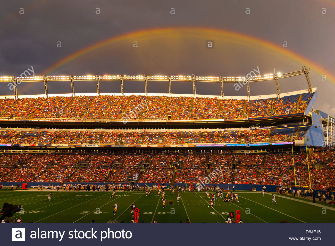 A rainbow over Sports Authority Field at Mile High (stadium), Denver, Colorado USA Stock Photo