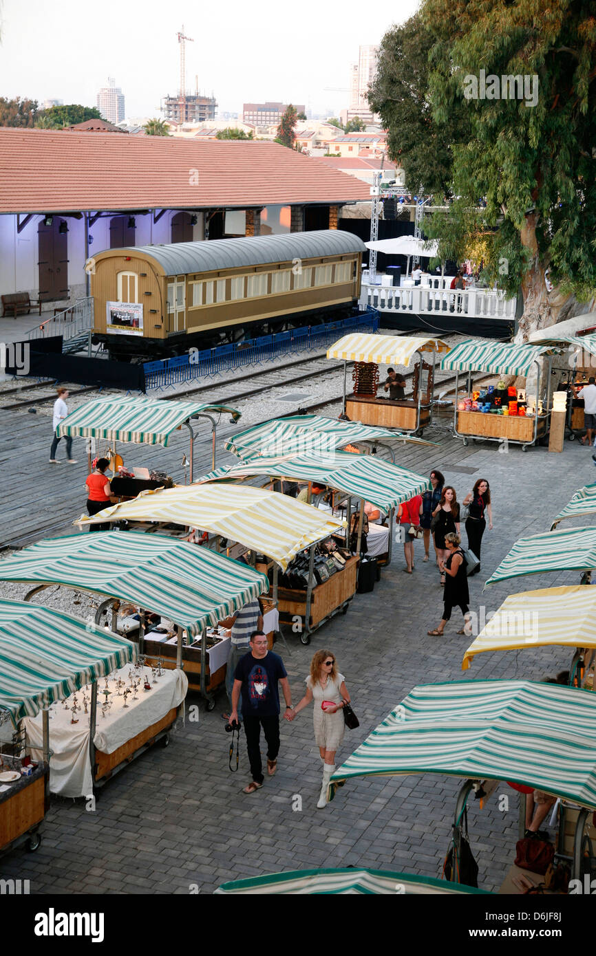 Hatachana marketplace in Neve Tzedek, now popular place with shops and restaurants, Tel Aviv, Israel, Middle East - Stock Image