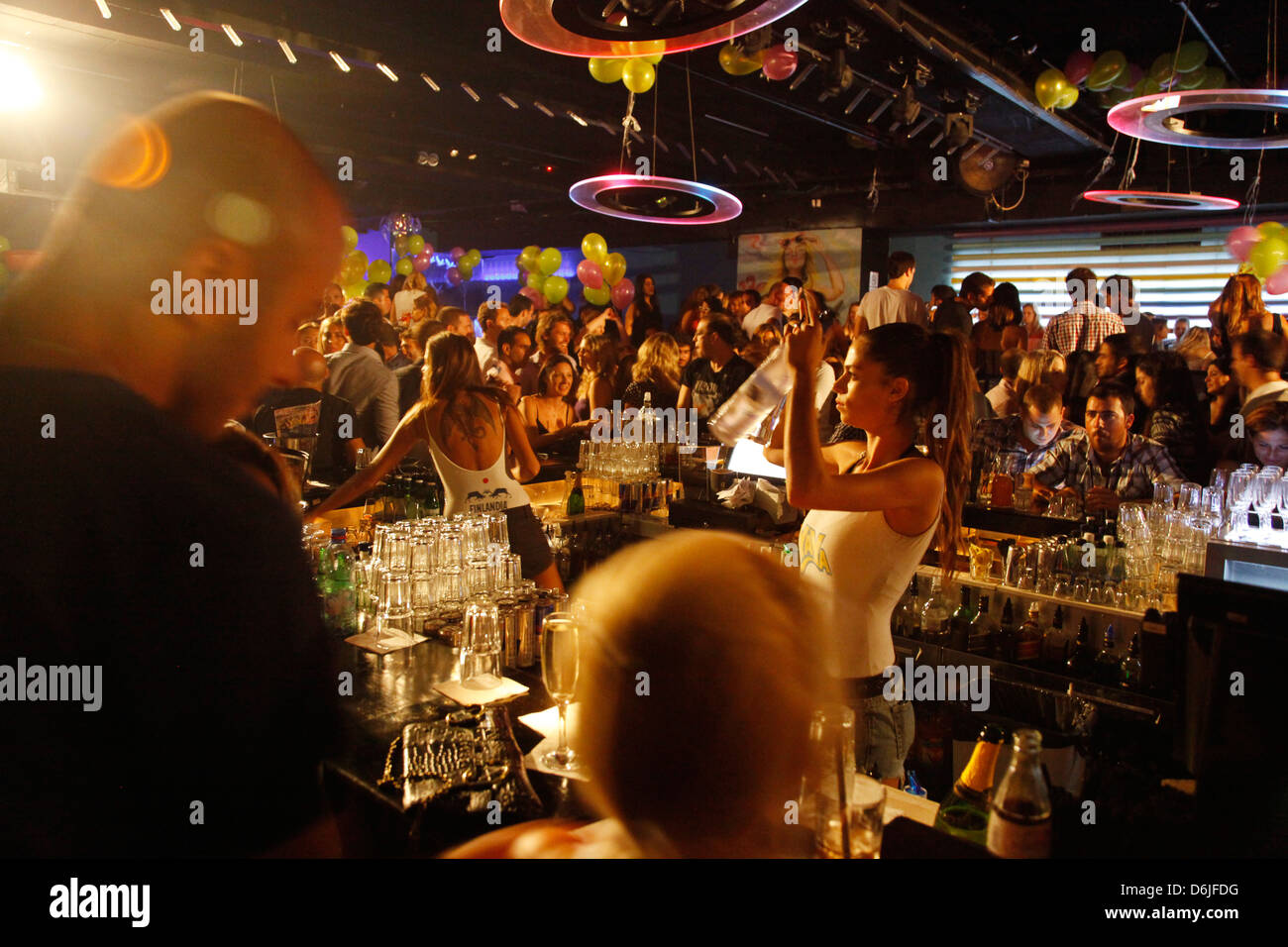 Yaya dance bar which is considered to be one of the top spots in Tel Aviv, Israel, Middle East - Stock Image