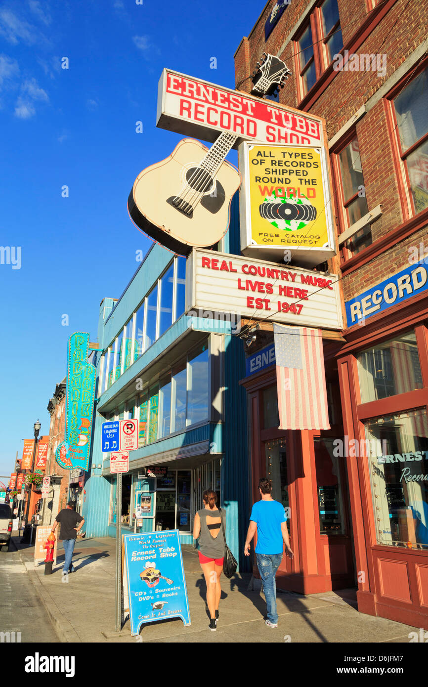 Music store on Broadway Street, Nashville, Tennessee, United States of America, North America - Stock Image