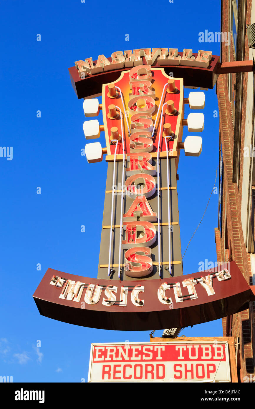 Signs on Broadway Street, Nashville, Tennessee, United States of America, North America - Stock Image