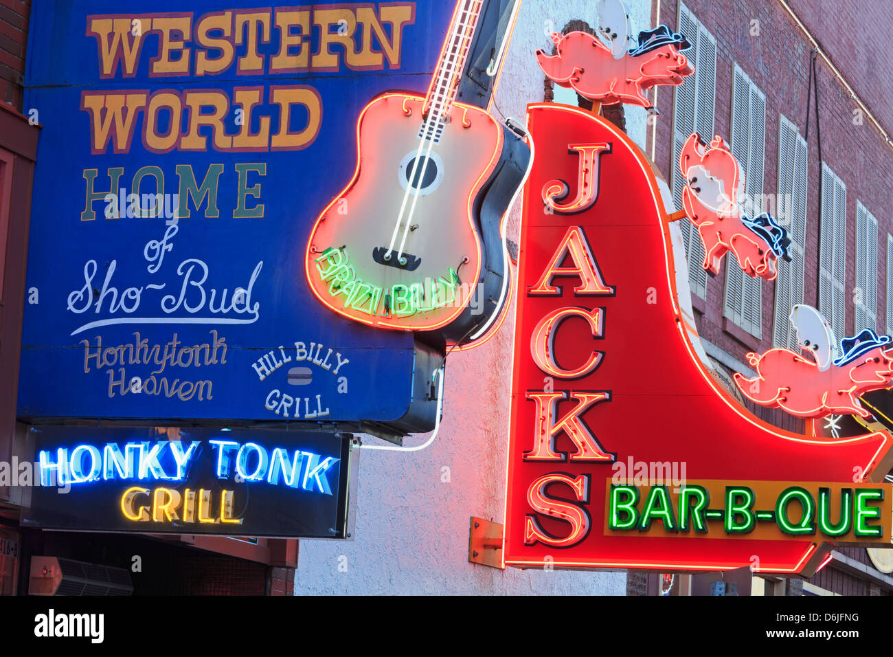 Neon signs on Broadway Street, Nashville, Tennessee, United States of America, North America - Stock Image