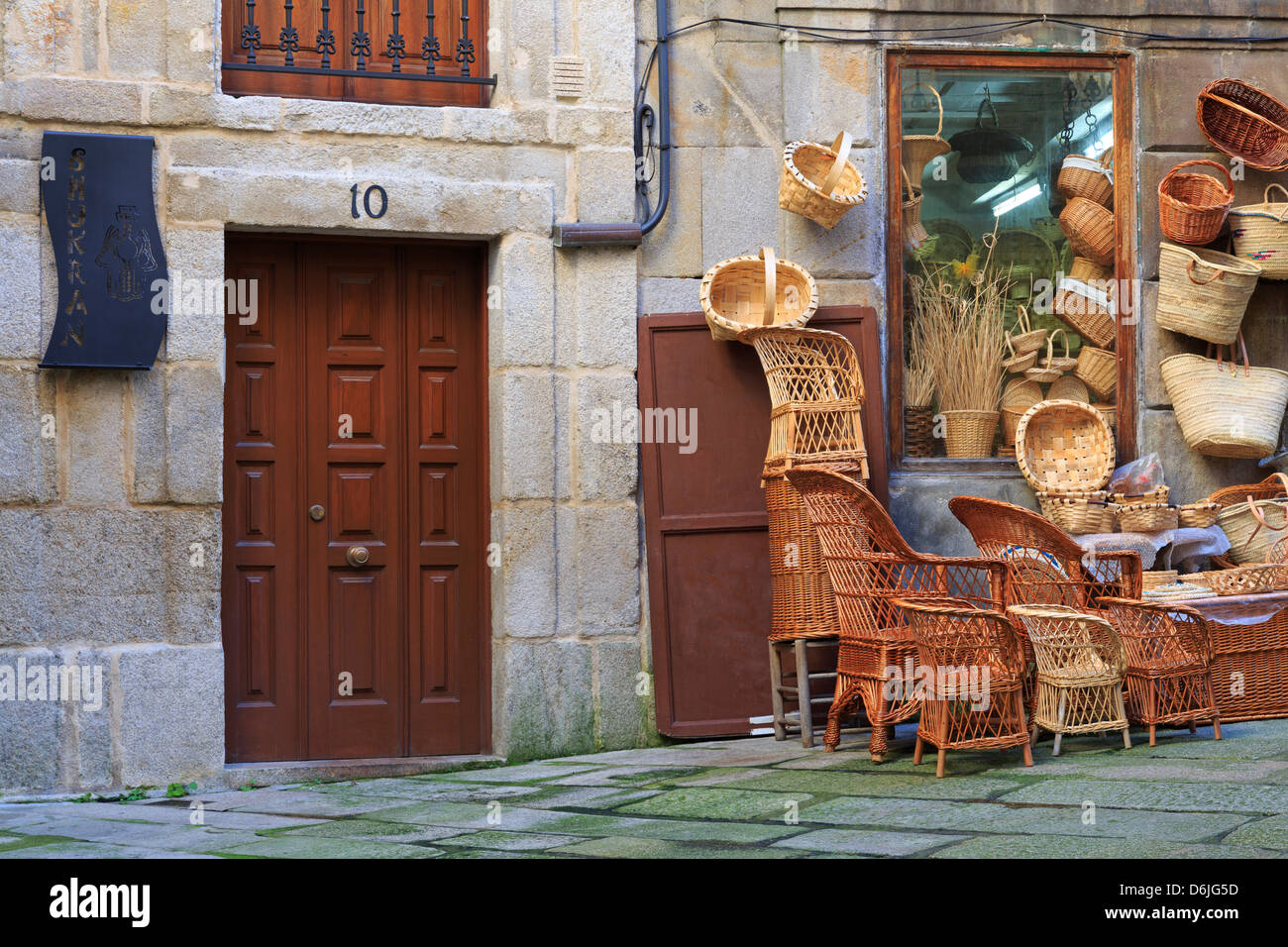Baskets for sale in the Historic Centre, Vigo, Galicia, Spain, Europe - Stock Image