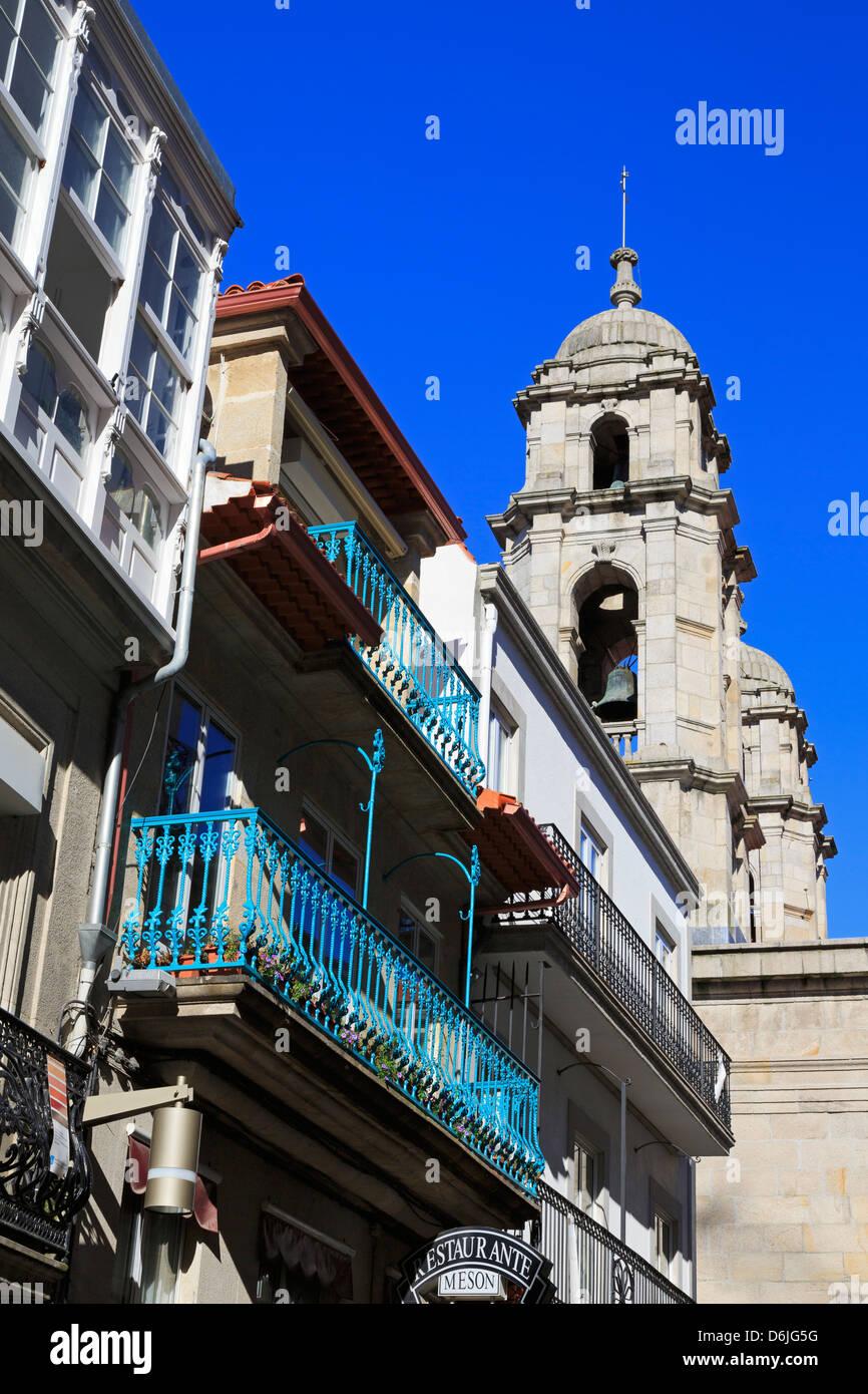 Triunfo Street in the Historic Centre, Vigo, Galicia, Spain, Europe - Stock Image