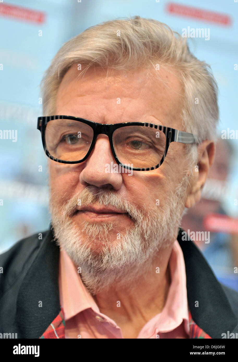 Danish actor Morten Grunwald sits in the Authors' Arena of the 'Leipziger Volkszeitung' newspaper at - Stock Image