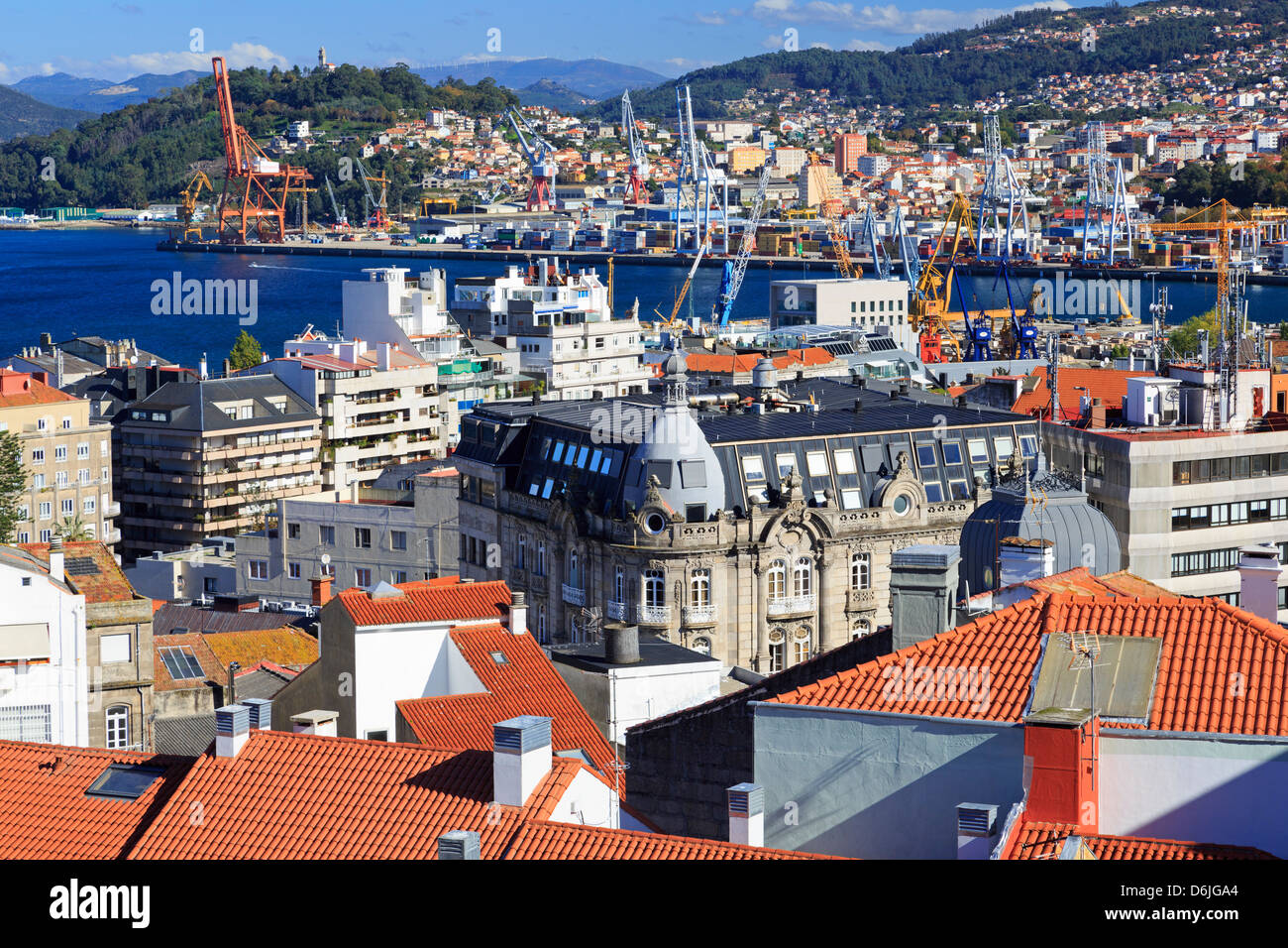 Red tiled roofs in the Historic Centre, Vigo, Galicia, Spain, Europe - Stock Image