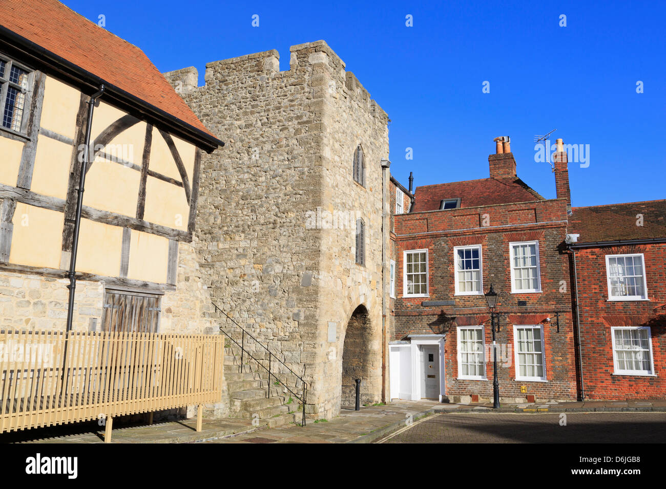 Westgate in Old Town Walls, Southampton, Hampshire, England, United Kingdom, Europe - Stock Image
