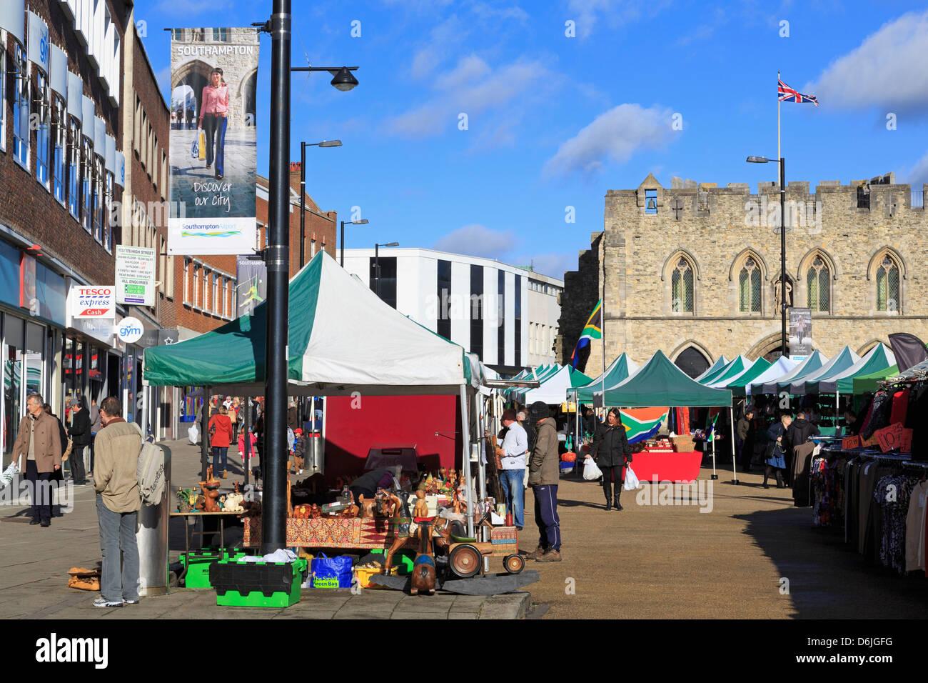 Saturday Market on High Street, Southampton, Hampshire, England, United Kingdom, Europe - Stock Image
