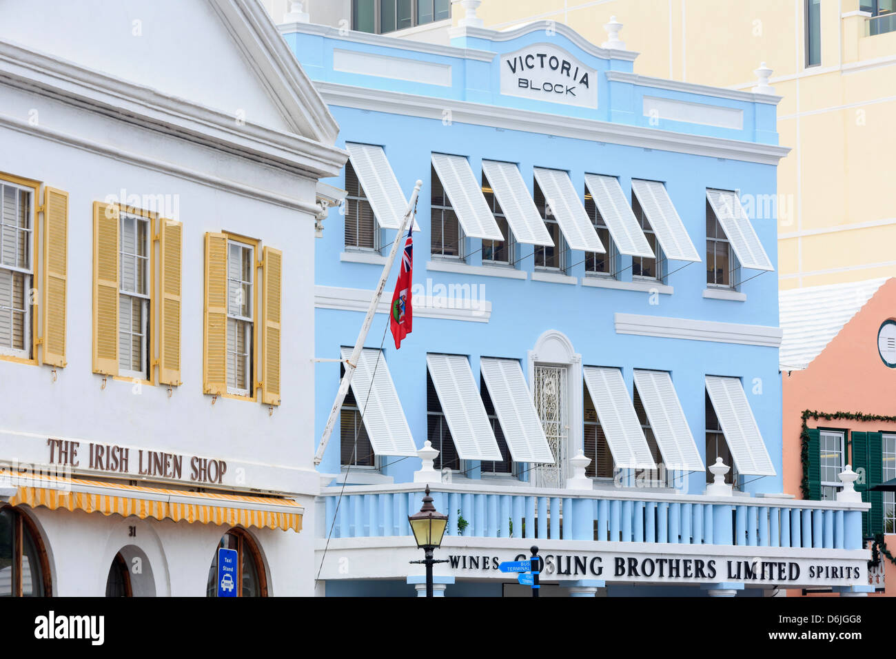 Victoria Block on Front Street in Hamilton City, Pembroke Parish, Bermuda, Central America - Stock Image