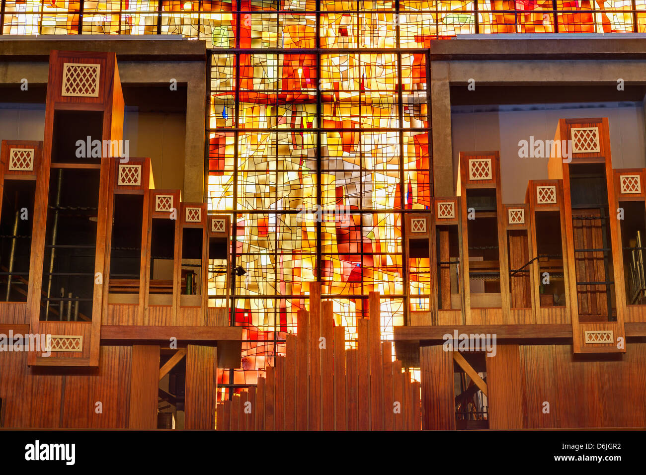 Stained glass in Saint Michel du Havre Church, Le Havre, Normandy, France, Europe Stock Photo