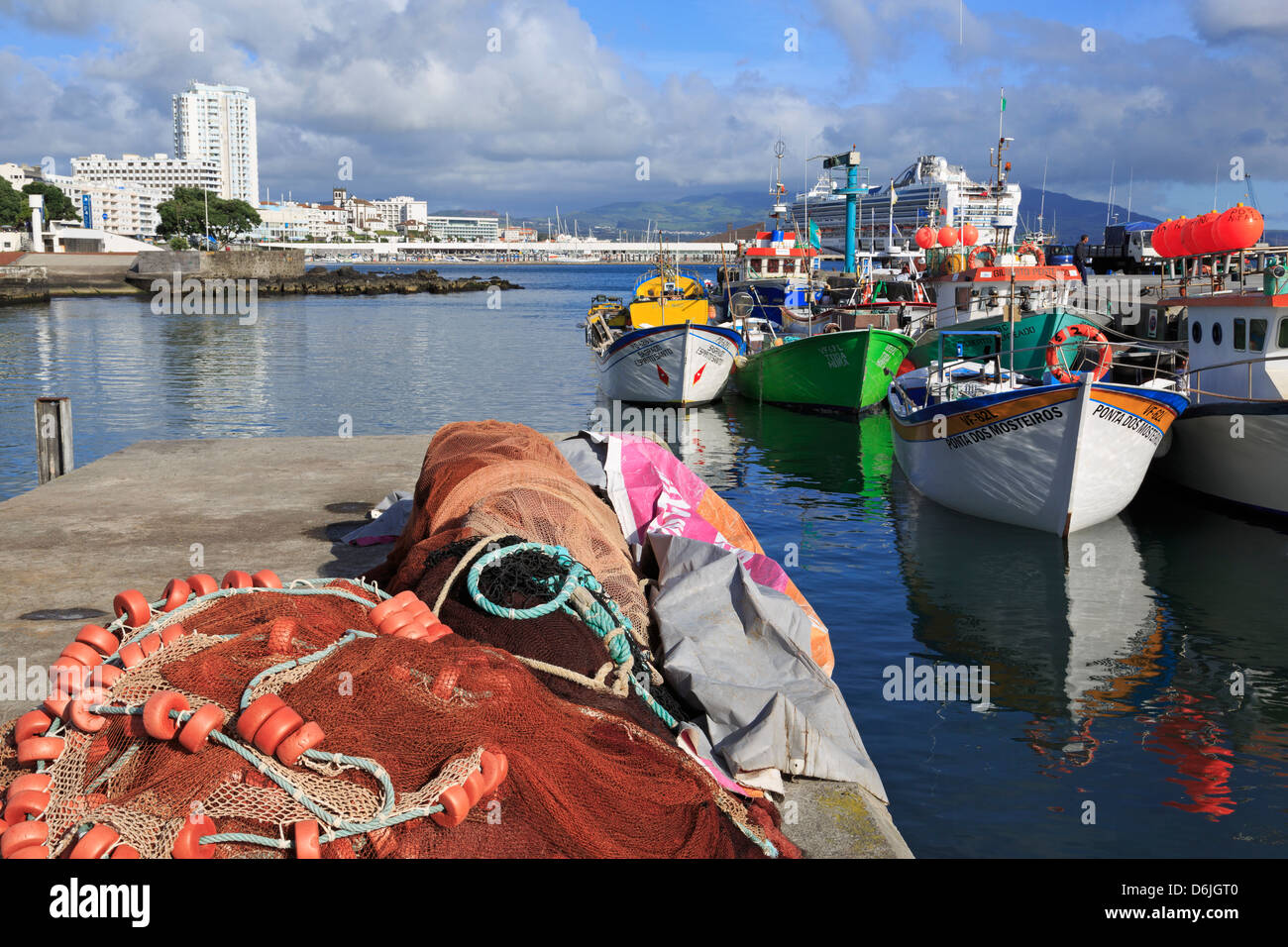 Fishing boats in harbour, Ponta Delgada Port, Sao Miguel Island, Azores, Portugal, Atlantic, Europe - Stock Image