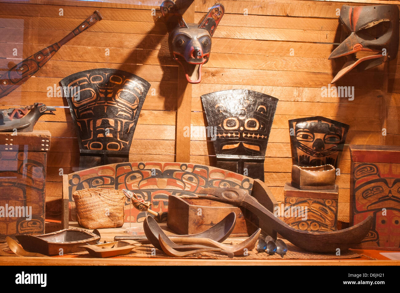 First Nation's artifacts at the Museum of Northern British Columbia, Prince Rupert, British Columbia, Canada, - Stock Image