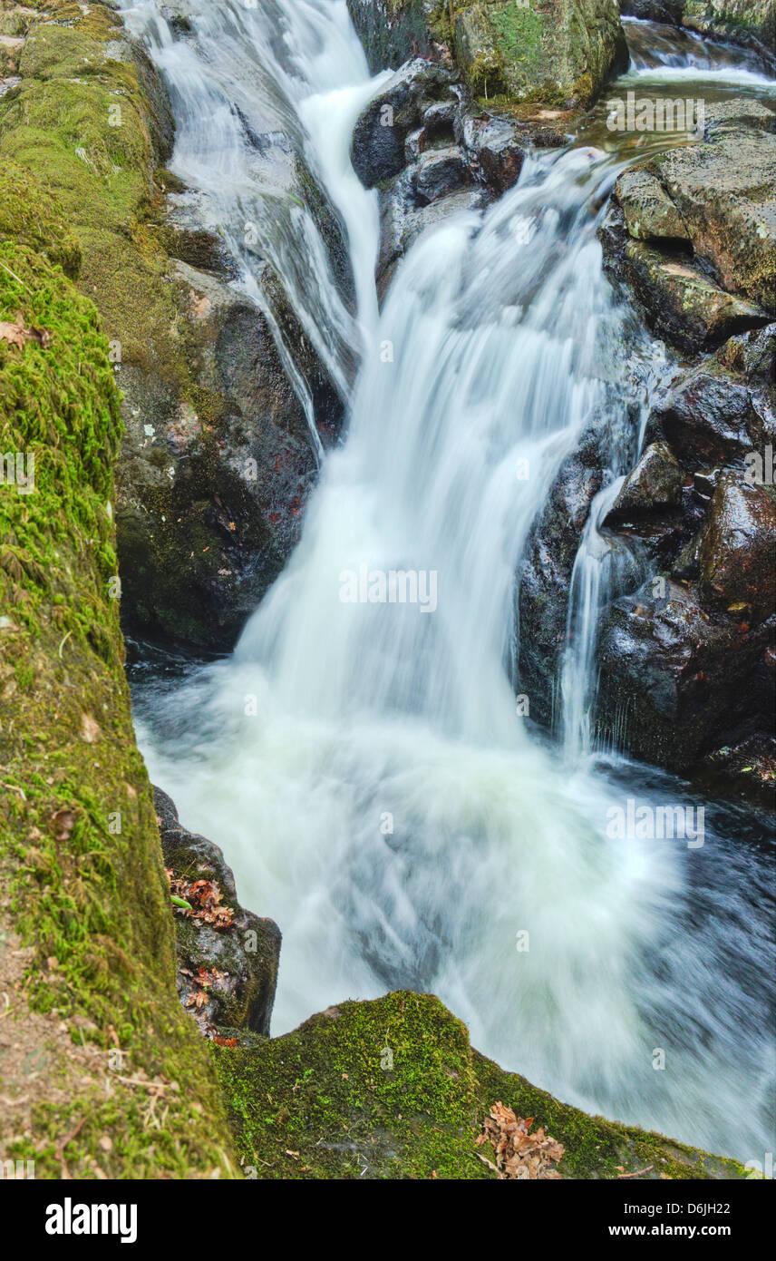 Waterfalls of the River Avon upstream of  Shipley Bridge in Dartmoor National Park, Devon Stock Photo