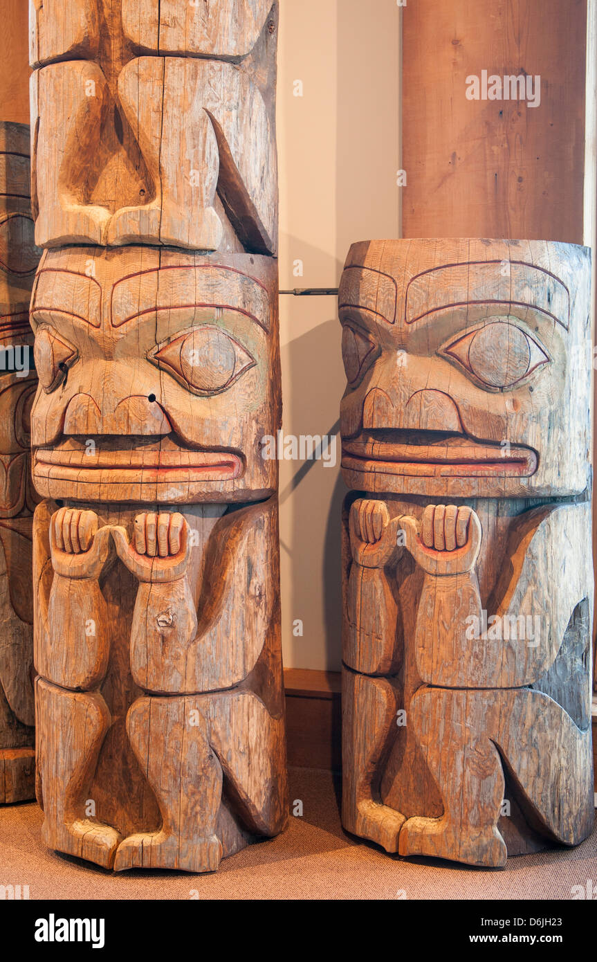 First Nation's totem poles at the Museum of Northern British Columbia, Prince Rupert, British Columbia, Canada, - Stock Image