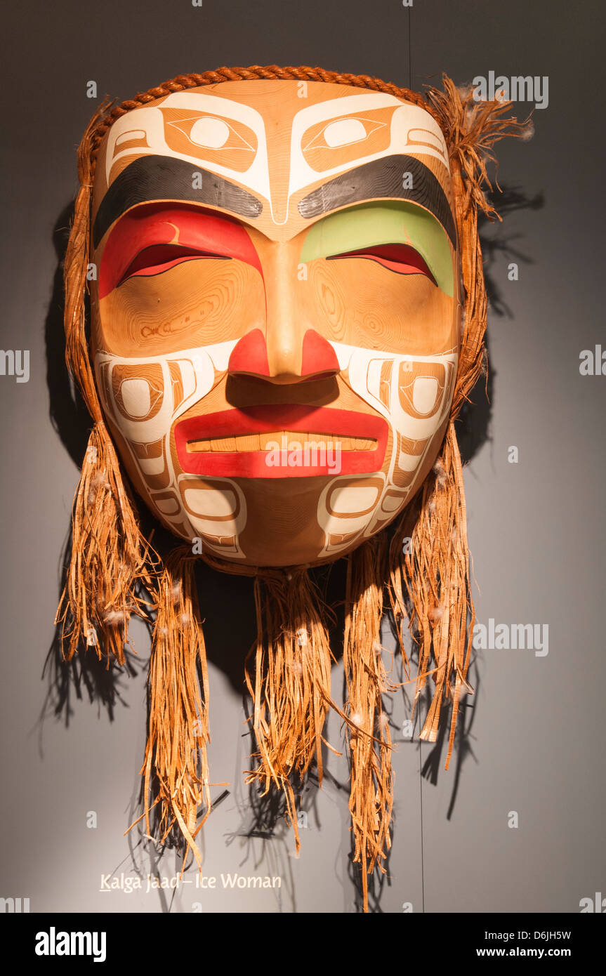 Mask at Haida Heritage Centre at Kaay Llnagaay, Haida Gwaii (Queen Charlotte Islands), British Columbia, Canada, - Stock Image