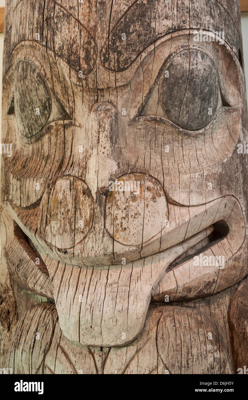 Totem pole at Haida Heritage Centre Museum at Kaay Llnagaay, Haida Gwaii (Queen Charlotte Islands), British Columbia, - Stock Image