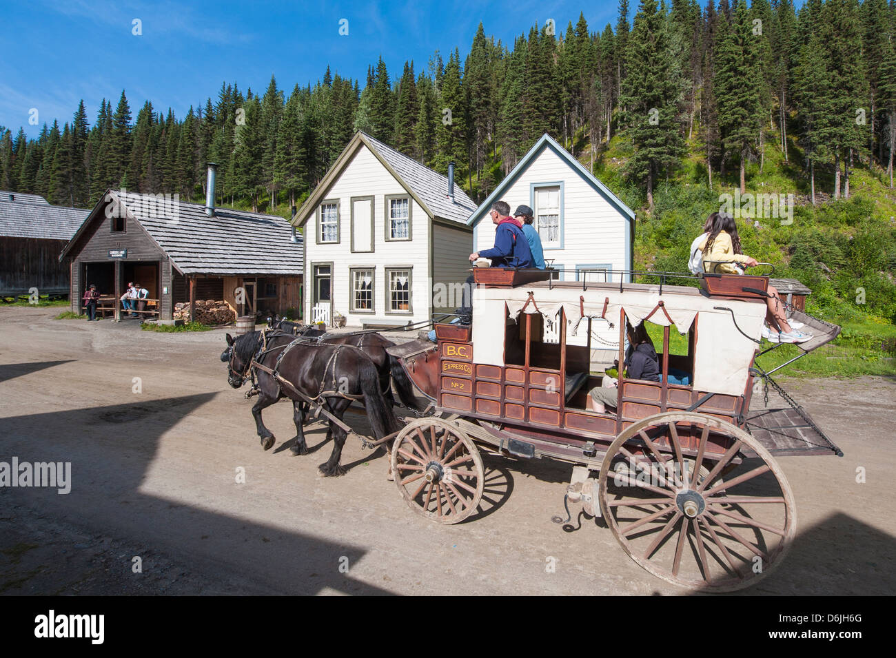 Stagecoach ride in historic gold town of Barkersville, British Columbia, Canada, North America - Stock Image